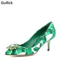Gullick أنيقة المرأة الانزلاق على كريستال زهرة الديكور بلانين طباعة الأحذية أشار تو المصارع اللباس مضخات كبيرة الحجم 43