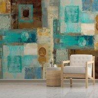 Fondos de pantalla personalizado PO Tamaño mural moderno simple abstracto geométrico cuadrado pintura al óleo fondo autoadhesivo papel tapiz arte impermeable