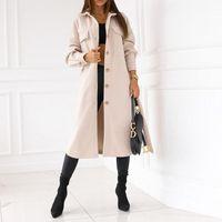 Women's Wool & Blends Fashion Button Long Sleeve Autumn Women Jacket Outwear Elegant Bandage Belted Overcoat Office Lady Winter Wolen Coats