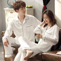 Sleepwear Masculina Casal de Verão Pijamas De Seda de Gelo para Mulheres e Homens Pijamas Branco Hombre Dormir Casa Roupas PJS Cetim Pijamas Femme