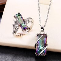 Earrings & Necklace Huitan Multicolored Rectangular Stone Ring Necklace Set Novel Design Anniversary Party Women Jewelry Factory Direct Sell