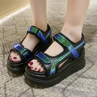 Sandals Platform Wedge Women Thick Sole Sport Shoes Summer Outdoor Casual Open Toe Black White 2021