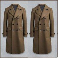 Hombres Double Breasted Se adaptan las mezclas de lana marrón Tweed Tweed Tweed Tweed Peaked Blazer Formal Abrigo largo Moda abrigo