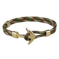 New Fashion Handmade Multi Colors Paracord Link Gold Anchor Bracelet for Men Women Gift