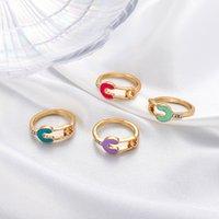 ins 간단한 다채로운 물방울이 핑거 클립 U 자 모양 링 여성용 커플 크리스탈 매력 금 구리 안전 핀 링 Y2K 보석