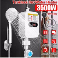 RX-21,3500W 220V Mini Water Heater Hot Electric Tankless Household Bathroom Faucet with Shower Head LCD Temperature Display