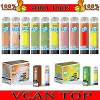 VCAN TOP TOP TOP CIGUME ECONABLE 4000 Puffs Bobine de maille Vape Stylo avec flux d'air RGB Dispositif rechargeable ajustable Dispositif Cigarettes électroniques 10 couleurs 100% originale