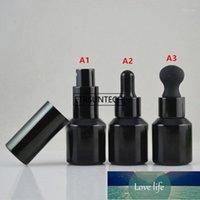 50 pcs 15ml Pulverizador de vidro preto botle Vazio loção recarregável garrafa cosméticos de óleo essencial de óleo conta-gotas F34471