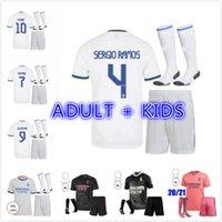 الكبار Kids Kit 20 21 22 Real Madrid Soccer Jersey 2021 2022 Sergio Ramos Hazard Jovic Vinicius بنزيما