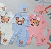 Дизайнеры Детские ползунки устанавливаются новорожденные дети мальчики девочек слюны полотенце малыш хлопок с коротким рукавом комбинезон младенческие oneies Rompers + нагрудник детская шляпа