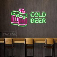 Other Lighting Bulbs & Tubes Cold Beer Neon Light LED Sign Bar Club Office El Pub Coffee Shop Personality Art Wall Lamp