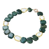 """Chokers JK 19"""" Natural White Pearl Gold Color Plated Green Agates Large Chunky Faceted Slice Rectangular Necklace Lady Jewelry"""