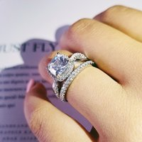 Moonso new Fashion cushion cut wedding ring set for women bride engagement Jewelry Bands eternity gift R4832