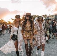 Yaz 2020 Yeni Bohemian Baskı Elbise Büyük Manşetleri ve V Yaka Uzun Kollu Ulusal Stil Bluz