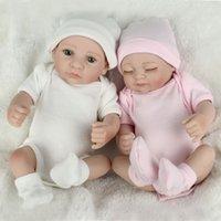 """10 """"Zwillinge Baby Puppen lebensechte Neugeborene Puppe Ganzkörper Vinyl Silikon Reborn Babies Weihnachten Geburtstagsgeschenke"""