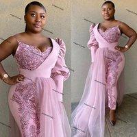 Rosa Overall Afrikanische Abendkleider Eine Schulter Pailletten Appliques Plus Size Prom Dress Hosenanzug Roben de Soirée Formale