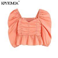 KPytomoa Mulheres Doce Moda Ruffled Plissada Cropped Blusas Vintage Slow Sleeves Back Elastic Feminino Camisas Chic Tops Chique 210302