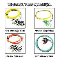 Équipement de fibre optique ST Pigtail 12 noyaux Bundles de 1,5 mètre UPC / APC SM / mm Simple MODE MODE FTTH
