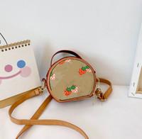 Designer meninas shell bolsa 2021 crianças desenhos animados impresso mensageiro saco crianças morango circular único bolsa de ombro a4843