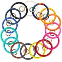 Enfants Silicone Bracelet Bracelet Porte-clés Anneau Alliage Bague Voiture Clé Chaînes Téléphone portable Pendentif Porte-clés Accessoires DIY Cadeau pour enfants G78V9K3