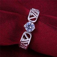 Womem's coeur rond sterling argenté argenté taille 7 dmsr605, meilleur 925 bague à la plaque d'argent bijoux sonnerie solitaire