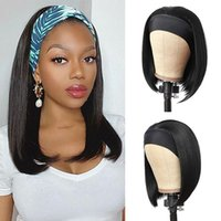 Short Bob Headband Wigs For Women Natural Black Color Synthetic Heat Resistant Straight Hair With Full Even End Match Headwrap Scarf No Lace 100% Machine Made 10-12 Inch