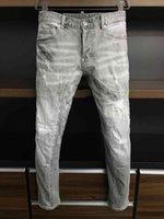 21s Mens jeans designer Ripped Skinny Trousers Moto biker hole Slim Fashion Brand Distressed ture Denim pants Hip hop Men D2 a398