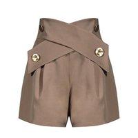 여성 반바지 높은 허리 금속 버클 디자이너 캐주얼 A 라인 와이드 다리 여성 카키색 블랙 루즈 의류 2021 브랜드 패션