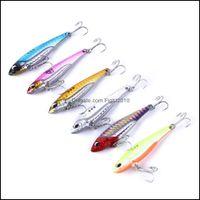 Hooks Sports & Outdoors6Pcs Metal Vib Fishing Weights 7-20G Long S Slots Hook Vibrating Blade Lure Articulos De Pesca Isca Artificial Bait D