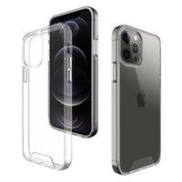 Space Trasparente ShCokrPoof Clear Acrilico Hrad Telefono Custodie per iPhone 12 11 Pro XS Max XR x 6 7 8 Plus Ultra Silver Silver Botton Coperchio del cellulare