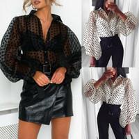 Kadınlar Casual Polka Dot Uzun Puf Kollu Gömlek Bayanlar Baggy Gevşek Benzersiz Tasarım Bahar Yaz Yeni Bluz Moda Trend