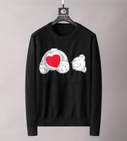 21FW осень зима Италия Париж мужские свитеры буква любовь медведь ангелы пальмовые свитер экипаж шеи пуловер высокие уличные мужчины женские белые толстовки