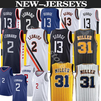 2021 Kawhi 2 Devin Paul 13 George Los Angeleses Basketball Jersey Indiana Reggie 31 Miller Basketball Jerseys Hommes Top S-2XL
