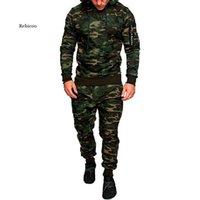 Men's Tracksuits Men Fashion Soild Camouflage Jackets+Pants Set Male Tracksuit Outdoors Suit Gyms Casual Sportswear