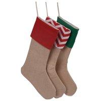 Décorations de Noël 30 * 45cm Bas de Noël Sacs-cadeaux Sacs de Noël Stockage de grande taille Limine Lampe Chaussettes décoratives de mer Livraison mer T2I52321