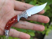 Promoção Pequena faca de bolso EDC 5Cr13Mov cetim lâmina aço + resina punho chaveiro facas de dobra com caixa de varejo