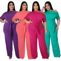 Moda Artı Boyutu Kadın Tulumlar Slash Boyun Zarif Yarım Kollu Sashes Dantel-up Sıska Gevşek Tulum 2021 Yaz