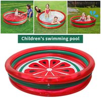 Inflatable Floats & Tubes Swimming Pool - 3 Ring Watermelon Kiddie Pools, Kids Bathing Paddling Fishing Game, Summer Beach Water Party