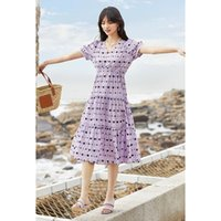 2021 summer new V-neck wave point women's lotus leaf sweet Dress Holiday bubble sleeve skirt