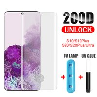 UV Tempered Glass Liquid Glue Full Cover Curved Screen Protector For Samsung Galaxy S8 S9 S10 + S20 S21 Plus Note 8 9 10 20 Ultra Protective Film