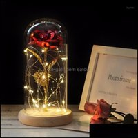 Decorative Flowers Wreaths Festive Supplies Home & Garden Gold-Plated Red Rose With Led Light In Glass Dome For Wedding Party Mothers Day Gi
