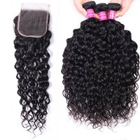 Water Wave Bundles Weaves with closure 4x4 Remy India Hair Extensions Natural Color Peruvian 10-30 Inch