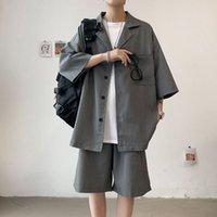 Erkek Eşofman Takım Kısa Kollu Rahat Yaz Moda Severler Ince Şortlu Bir Set Yakışıklı Eşleştirme Gömlek 2-piece