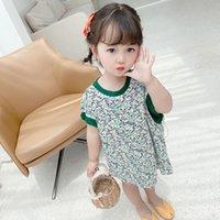 Kızın Elbiseleri Kız Sen Bölümü Yeşil Küçük Çiçekler Orta-Uzun T-shirt Etek Yaz Çocuk Kırsal Tarzı 3 Kabarcık Kol 4 Elbise