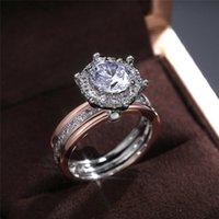 결혼 반지 Ekopdee 빈티지 클래식 큰 지르콘 여성을위한 럭셔리 밴드 손가락 반지 여성 약혼 신부 패션 쥬얼리 선물
