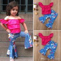 Summer Baby Girls Clothing Sets 0-4T one-shoulder blouse denim flower flared pants two-piece girl suit