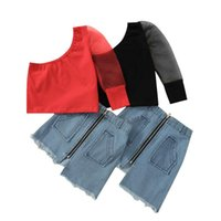 Clothing Sets Summer Fashion Kids Girls Clothes 2pcs Lace Puff Sleeve One Shoulder Tops Blue Denim Skirts 1-6Y