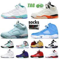 Basketbol Ayakkabıları Jumpman 5 5 S V Erkek Mavi Kuş Florida Gators Beyaz Kapalı Işık Aqua Oklahoma Parçalı Arka Plan UNC Bluebird Eğitmenler Tasarımcı Sneakers