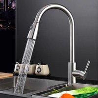Gebürstete Nickel-Finish-Küchen-Waschbecken Wasserhahn-Pull-Sprühgerät-Deck-Halterung-Mischbatterie-Tap-Schwenkauslauf Wasser