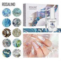 Nail Art Kits ROSALIND Transfer Adhesive Set Flower Blue Ocean Leopard Sticker Printing Nails Foil Polish Glue Kit